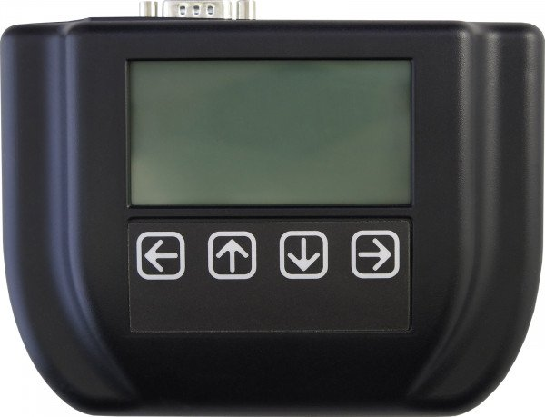 Top view of enclosure with 128x64 Pixel LCD and 4 membrane switches (TS-ENC820-HMI)